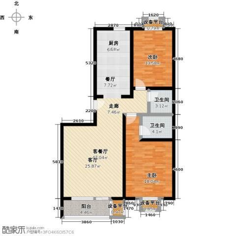 梨花江苑2室1厅2卫0厨110.00㎡户型图