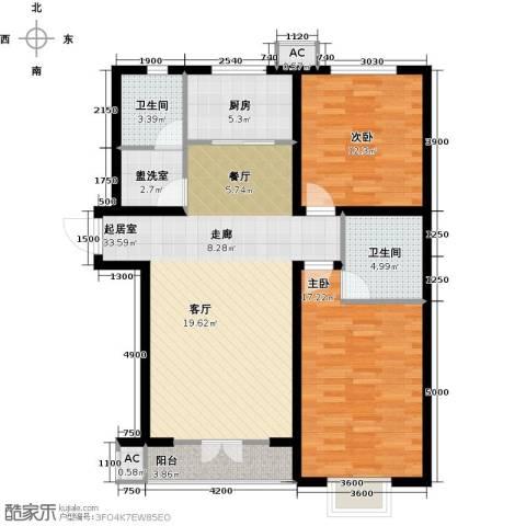 水榭花城2室0厅2卫1厨125.00㎡户型图