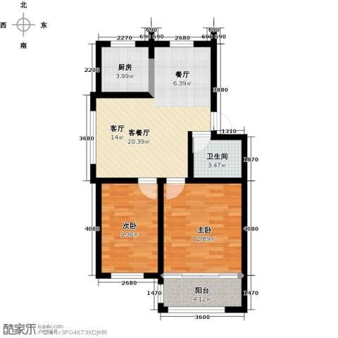 东骏阅山2室1厅1卫1厨76.00㎡户型图