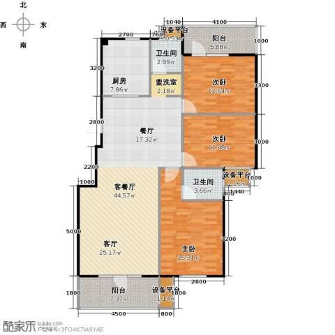 中央华府3室1厅2卫1厨156.00㎡户型图