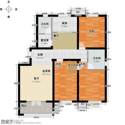 水榭花城3室0厅2卫1厨134.00㎡户型图