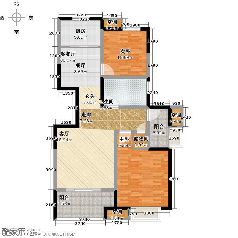 国信紫云�108.00㎡G户型2室2厅1卫