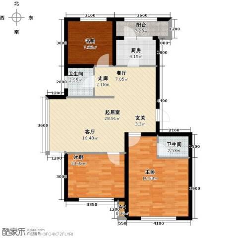 诺睿德国际商务广场3室0厅2卫1厨121.00㎡户型图