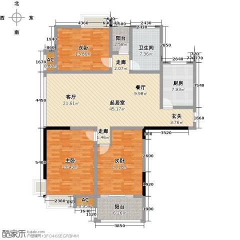 东方尚院3室0厅1卫1厨138.00㎡户型图