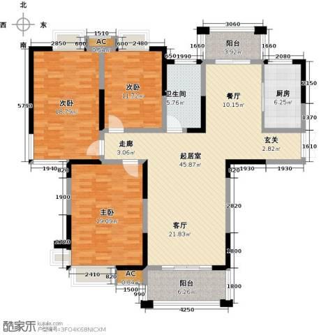 东方尚院3室0厅1卫1厨136.00㎡户型图