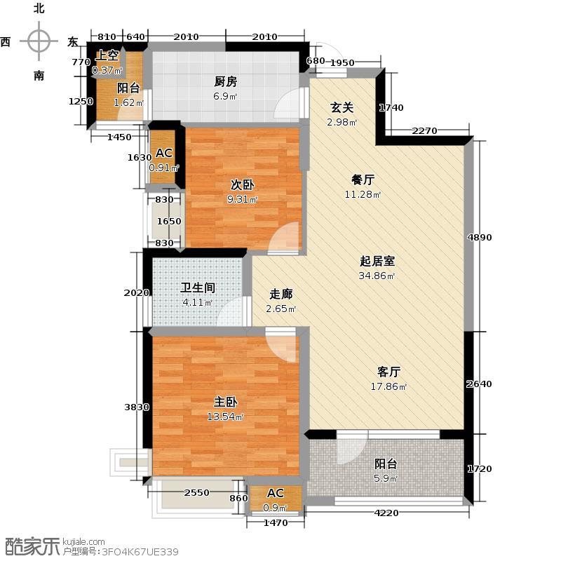 江尚90.00㎡江尚尚樾90平米2室2厅1卫1厨户型QQ