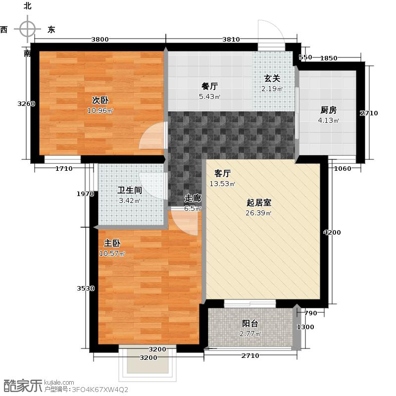 浩友凤凰城两室两厅一卫一厨80.39平米户型X