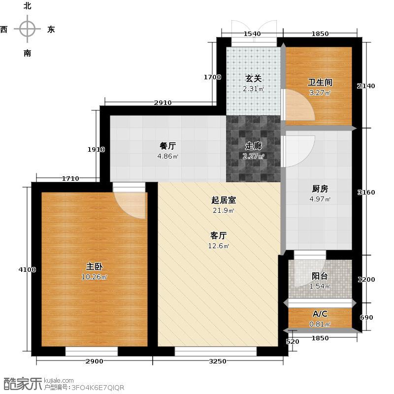 龙泽国际54.24㎡龙泽国际户型图户型1室1厅1卫X