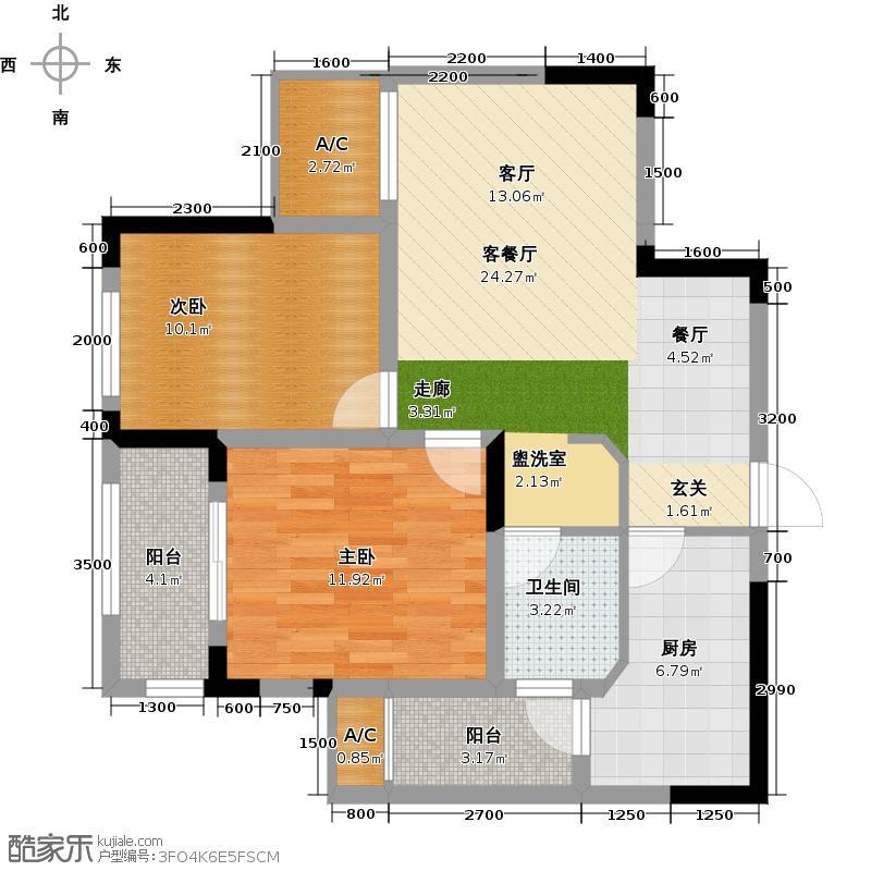 绿地国际金融城87.00㎡2室2厅1卫X