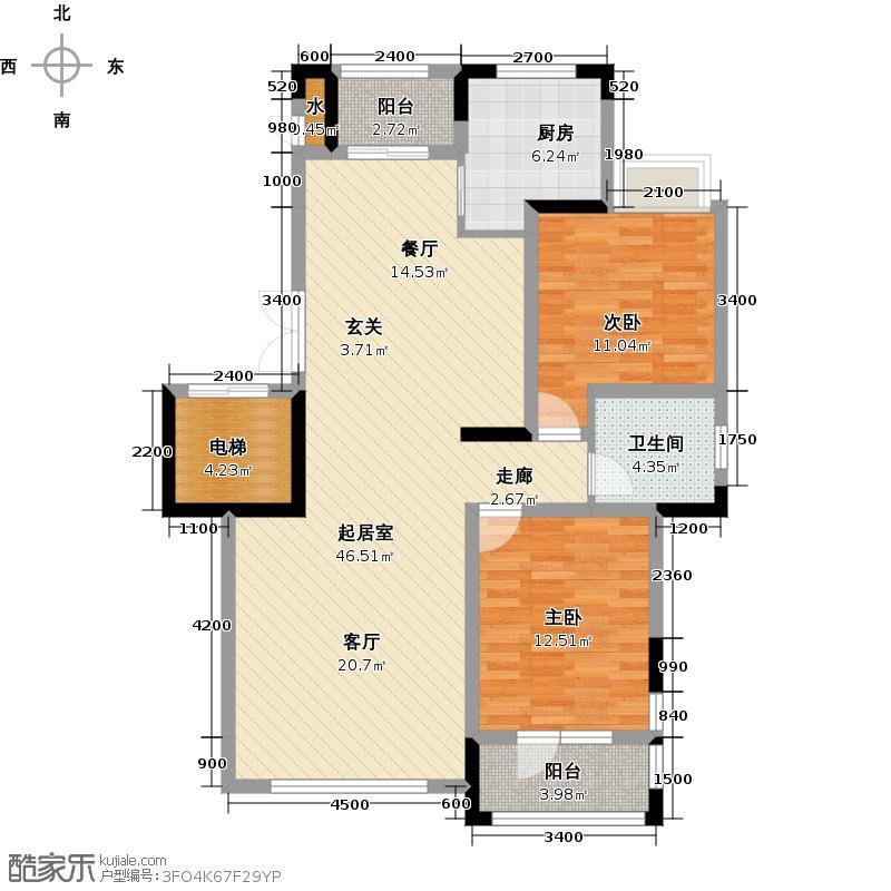 保利香槟112.00㎡U户型2室2厅1卫QQ