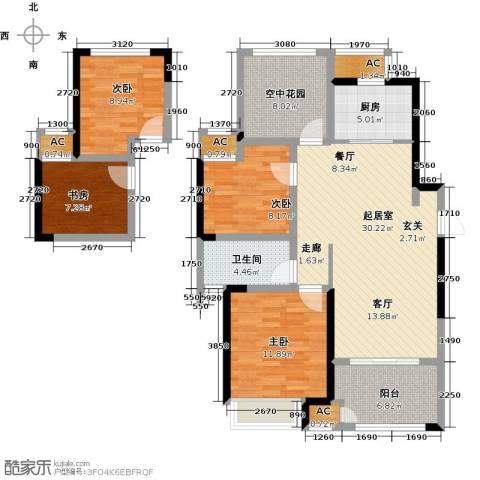 新城香溢俊园4室0厅1卫1厨110.00㎡户型图