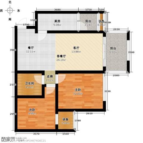 新里程尊域2室1厅1卫1厨100.00㎡户型图
