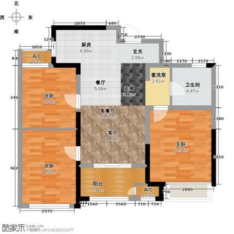 新城香溢俊园3室1厅1卫0厨87.00㎡户型图