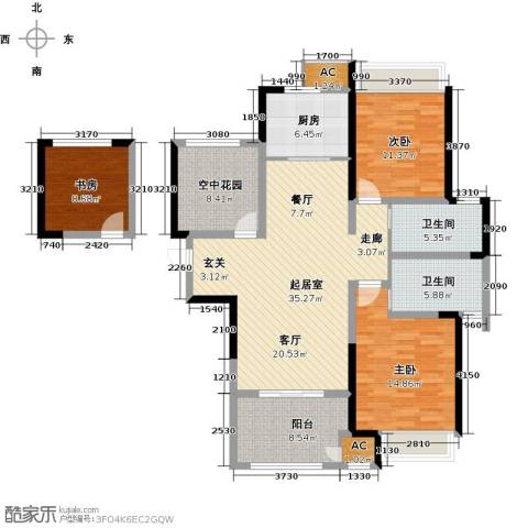 新城香溢俊园3室0厅2卫1厨120.00㎡户型图