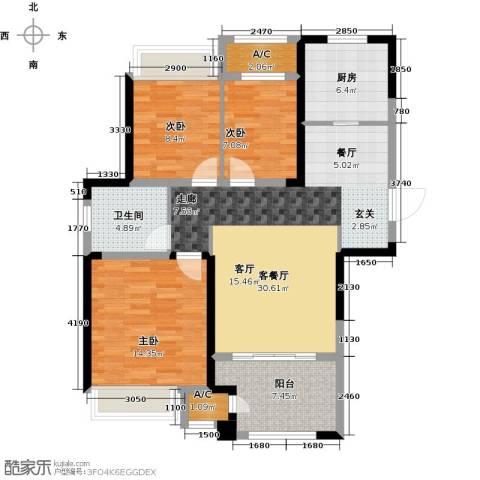 新城香溢俊园3室1厅1卫1厨95.00㎡户型图