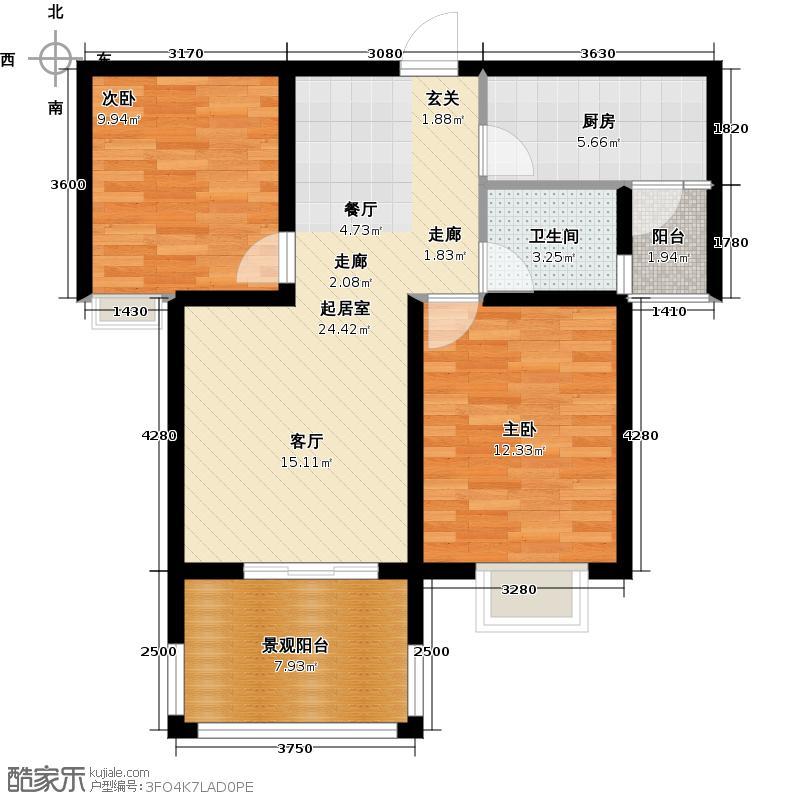 东方太阳城2室2厅1卫 86.57平米户型2室2厅1卫