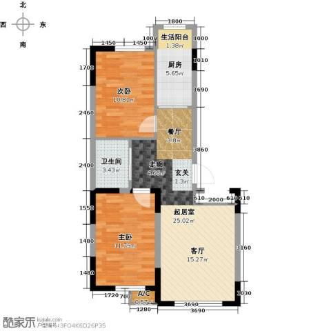 新星宇和源2室0厅1卫1厨87.00㎡户型图