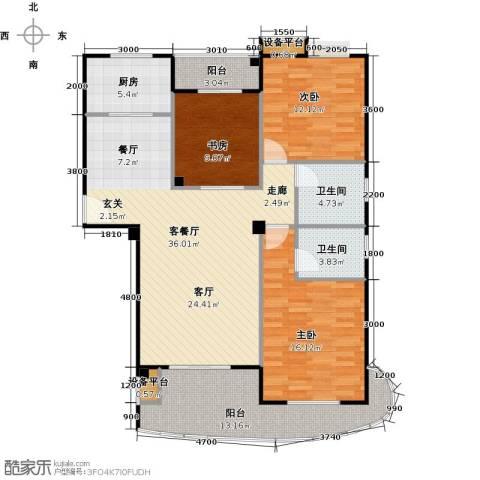 中央华府3室1厅2卫1厨142.00㎡户型图