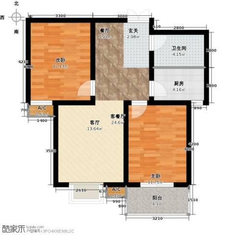 龙泽国际2室1厅1卫1厨88.00㎡户型图