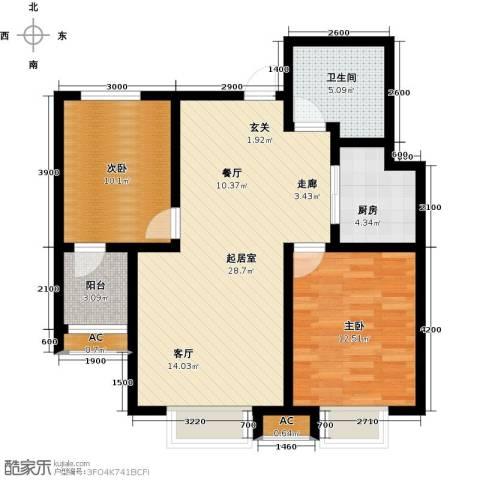 中环广场2室0厅1卫1厨95.00㎡户型图