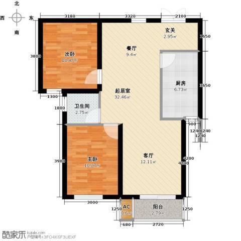 龙泽国际2室0厅1卫1厨89.00㎡户型图