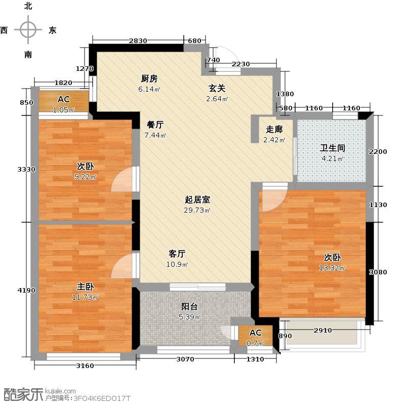 新城香溢俊园85.00㎡9户型3室2厅1卫QQ