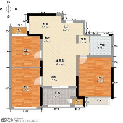 新城香溢俊园3室0厅1卫0厨85.00㎡户型图