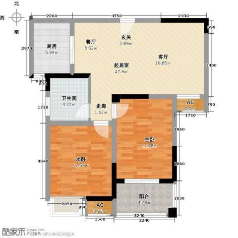东方尚院2室0厅1卫1厨81.00㎡户型图