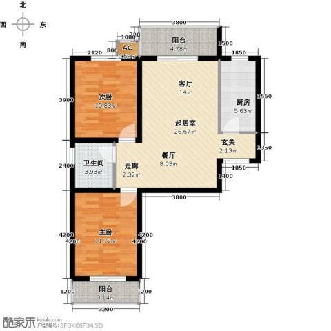 龙泽国际2室0厅1卫1厨96.00㎡户型图