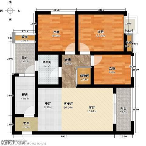 新里程尊域3室1厅1卫1厨104.00㎡户型图