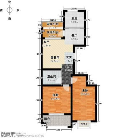世纪绿城2室1厅1卫1厨82.00㎡户型图
