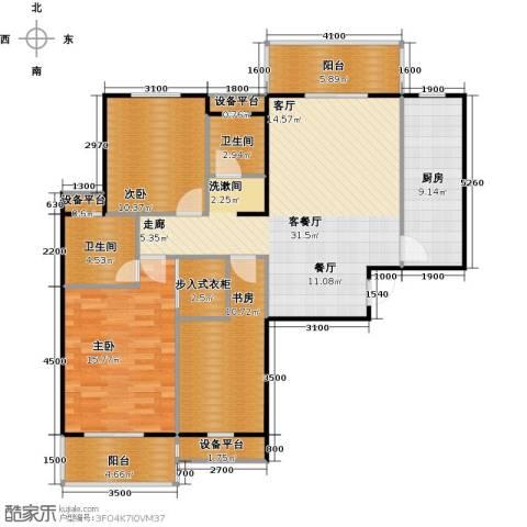 中央华府3室1厅2卫1厨138.00㎡户型图