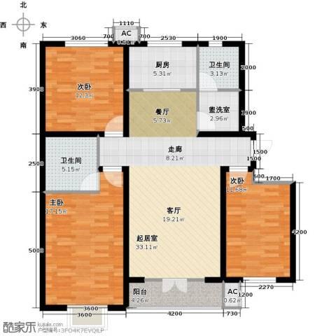水榭花城3室0厅2卫1厨143.00㎡户型图