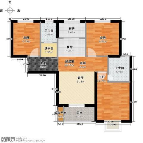 光华里3室0厅2卫1厨115.00㎡户型图