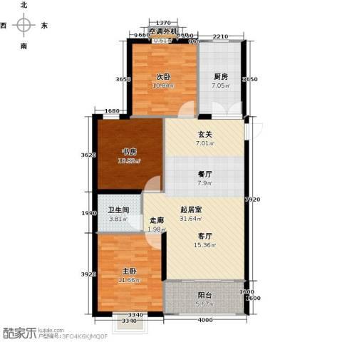 桃园丽�城3室0厅1卫1厨112.00㎡户型图