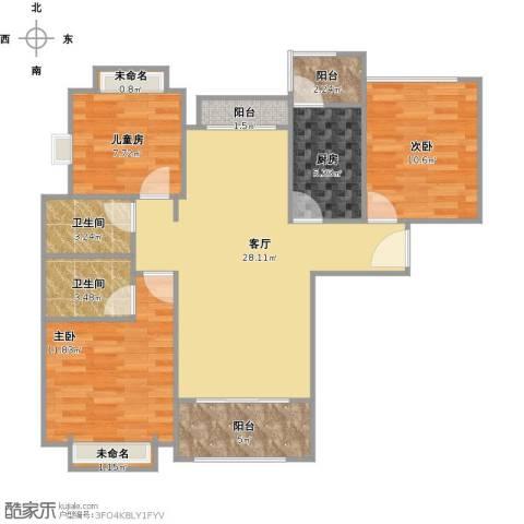 合景领峰3室1厅2卫1厨111.00㎡户型图