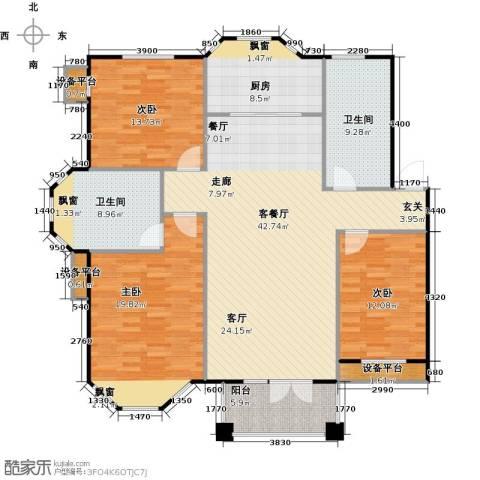 绿地华庭3室1厅2卫1厨166.00㎡户型图