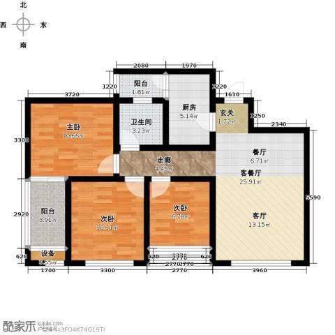 新里程尊域3室0厅0卫1厨97.00㎡户型图