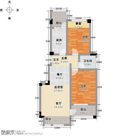 钻石铭苑2室0厅1卫1厨80.00㎡户型图