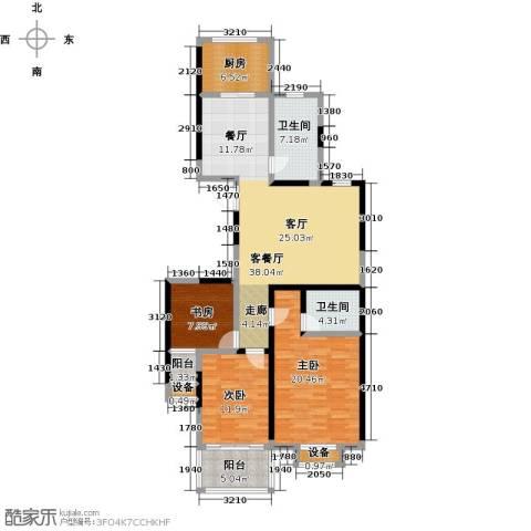 文泰康城3室1厅2卫1厨121.00㎡户型图