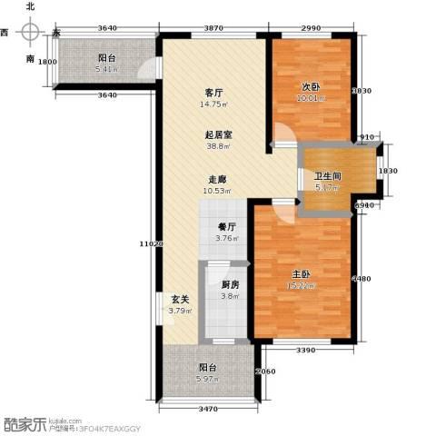 钻石铭苑2室0厅1卫1厨91.00㎡户型图