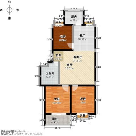 文泰康城3室1厅1卫1厨96.00㎡户型图