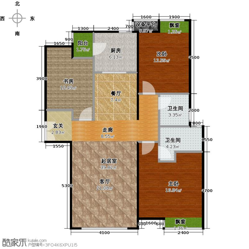 富力津门湖二期131.00㎡溪畔云舒组团户型3室2厅2卫