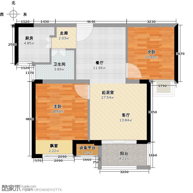 锦绣天地75.87㎡1#标准层右二B户型75.87平米户型2室2厅1卫