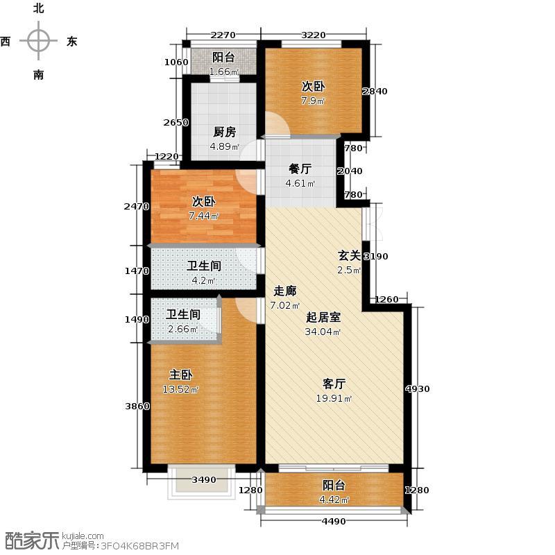 时代天骄133.92㎡三室两厅两卫户型