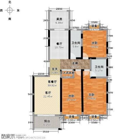 文泰康城3室1厅2卫1厨131.00㎡户型图