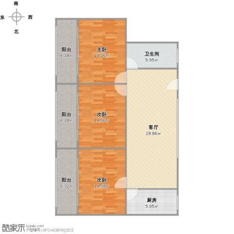 南天公寓3室1厅1卫1厨136.00㎡户型图