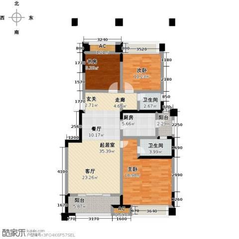 金科天籁城3室0厅2卫1厨118.00㎡户型图