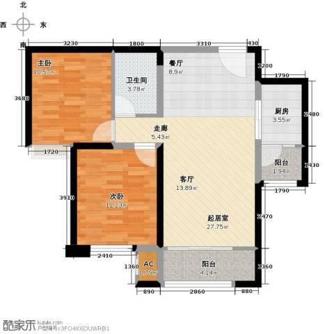 中海外滩2室0厅1卫1厨85.00㎡户型图