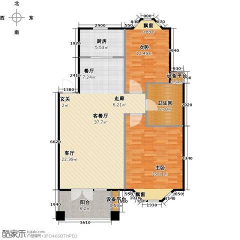 绿地华庭2室1厅1卫1厨119.00㎡户型图